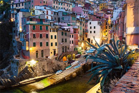 Clifftop village of Riomaggiore at dawn, Cinque Terre National Park, UNESCO World Heritage Site, Liguria, Italy Stock Photo - Rights-Managed, Code: 700-06512756