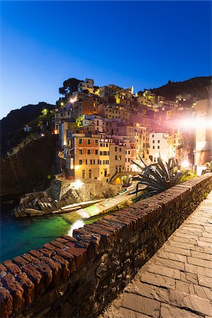 Clifftop village of Riomaggiore at dusk, Cinque Terre National Park, UNESCO World Heritage Site, Liguria, Italy Stock Photo - Rights-Managed, Code: 700-06512758