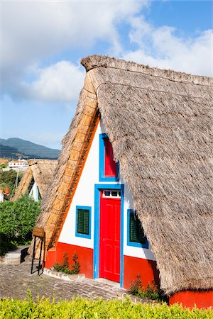 portuguese (places and things) - Traditional Palheiro House with Thatched Roof, Santana, Madeira, Portugal Stock Photo - Rights-Managed, Code: 700-06531535