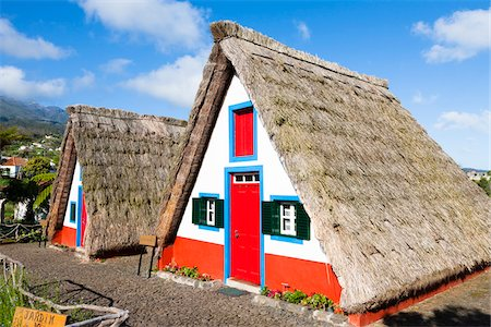 portugal - Traditional Palheiro Houses with Thatched Roof, Santana, Madeira, Portugal Stock Photo - Rights-Managed, Code: 700-06531537