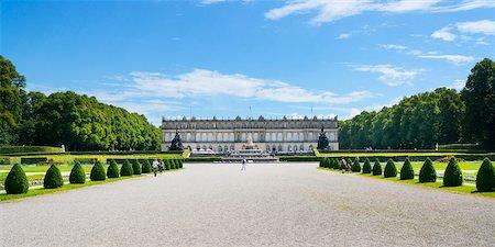 Panoramic View of New Herrenworth Palace at Herrenchiemsee, Herreninsel, Chiemsee, Oberbayern, Bavaria, Germany Stock Photo - Rights-Managed, Code: 700-06531645