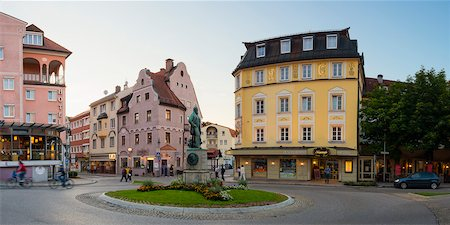 quaint - Downtown Traffic Circle and Colorful Buildings at Dusk, Fussen, Swabia, Bavaria, Germany Stock Photo - Rights-Managed, Code: 700-06531653