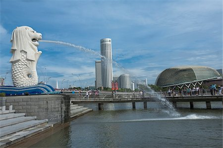 Merlion Park on Marina Bay, Singapore Stock Photo - Rights-Managed, Code: 700-06531696