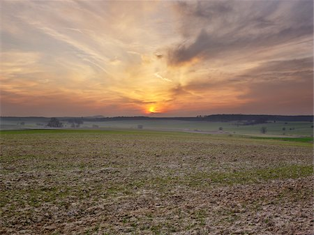 dirt - sunset over plowed field, France Stock Photo - Rights-Managed, Code: 700-06531945