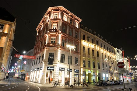 Main Square at the Intersection of Sackstrasse and Murgasse Streets at Night, Graz, Styria, Austria Stock Photo - Rights-Managed, Code: 700-06543481