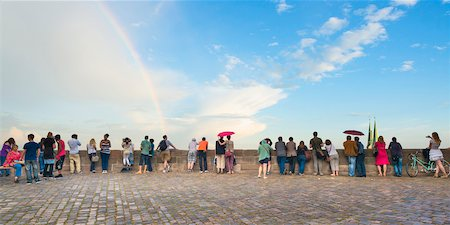 rainbow - People Standing along Wall at Kaiserburg Castle Looking at Cityscape with Rainbow in Sky, Nuremberg, Mittelfranken, Middle Franconia, Bavaria, Germany Stock Photo - Rights-Managed, Code: 700-06553329