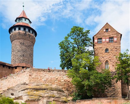 Low Angle View of Nuremberg Imperial Castle with Blue Sky and Clouds, Kaiserburg, Nuremberg, Middle Franconia, Bavaria, Germany Stock Photo - Rights-Managed, Code: 700-06553330