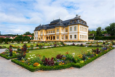 Veitshochheim Castle and Colorful Flower Beds in Garden, Wurzburg, Lower Franconia, Bavaria, Germany Stock Photo - Rights-Managed, Code: 700-06553359