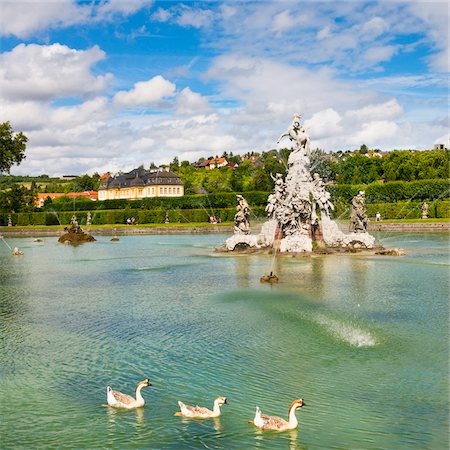 Ducks Swimming in Water Fountain at Veitshochheim Castle, Wurzburg, Lower Franconia, Bavaria, Germany Stock Photo - Rights-Managed, Code: 700-06553364