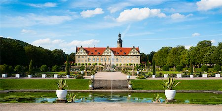 Panoramic View of Water Fountain and Weikersheim Castle, Weikersheim, Baden-Wurttemberg, Germany Stock Photo - Rights-Managed, Code: 700-06553371