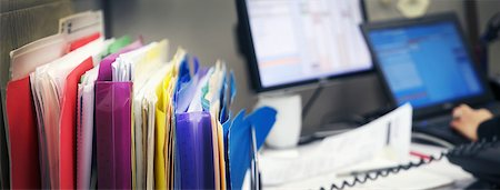 panoramic view of messy desk and files Stock Photo - Rights-Managed, Code: 700-06570976