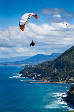 Paragliding looking south towards Wollongong from Bald Hill Lookout, Bald Hill Headland Reserve, Illawarra, Wollongong, New South Wales, Australia Stock Photo - Rights-Managed, Code: 700-06669619