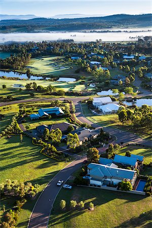 residential - Aerial view of a golf course and housing estate in wine country near Pokolbin, Hunter Valley, New South Wales, Australia Stock Photo - Rights-Managed, Code: 700-06675099