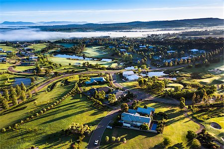 Aerial view of a golf course and housing estate in wine country near Pokolbin, Hunter Valley, New South Wales, Australia Stock Photo - Rights-Managed, Code: 700-06675100