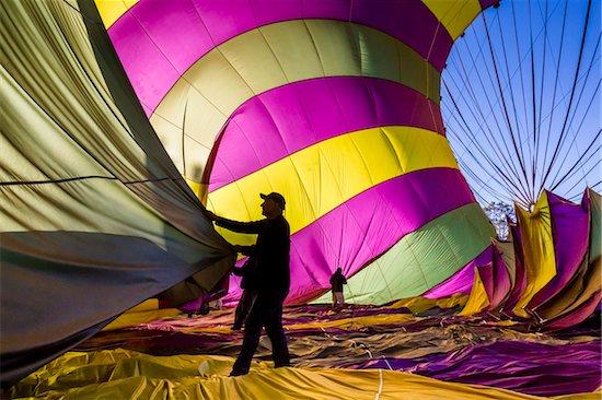 Deflating a hot air balloon near Pokolbin, Hunter Valley, New South Wales, Australia Stock Photo - Premium Rights-Managed, Artist: R. Ian Lloyd, Image code: 700-06675121