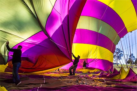 Deflating a hot air balloon near Pokolbin, Hunter Valley, New South Wales, Australia Stock Photo - Rights-Managed, Code: 700-06675122