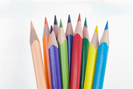 Close Up of Ten Multi-Colored Pencil Crayons on White Background Stock Photo - Rights-Managed, Code: 700-06679329