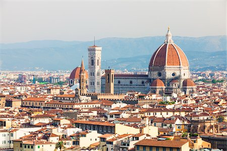 View of city skyline and Basilica di Santa Maria del Fiore, Florence, Tuscany, Italy Stock Photo - Rights-Managed, Code: 700-06701744