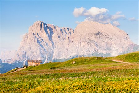 Wooden hut in front of Mount Langkofel, South Tyrol, Trentino Alto Adige, Italy Stock Photo - Rights-Managed, Code: 700-06701750