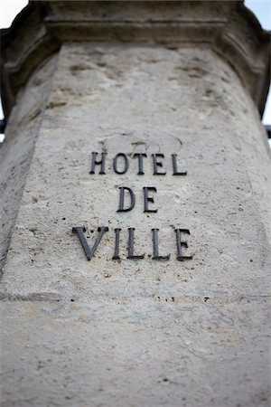 french (places and things) - Close-up of Sign on Pillar, Town Hall, Orleans, Loiret, Central Region, France Stock Photo - Rights-Managed, Code: 700-06701771