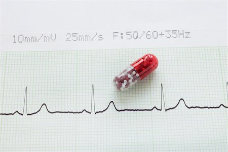reviewing - close-up of an electrocardiogram report and a red pill capsule Stock Photo - Rights-Managed, Code: 700-06701967