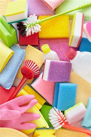 still life of cleaning products including sponges, bottles, rubber gloves, and scrub brushes Stock Photo - Rights-Managed, Code: 700-06714077