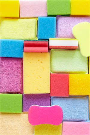 Still Life of Colorful Sponges of Different Shapes and Sizes Stock Photo - Rights-Managed, Code: 700-06714073