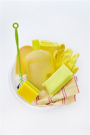 still life of cleaning products like dishmop, sponge, bottle, rubber glove, duster Stock Photo - Rights-Managed, Code: 700-06714084