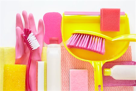 still life of cleaning products including sponges, plastic bottle, rubber gloves, dustpan, and hand broom Stock Photo - Rights-Managed, Code: 700-06714080