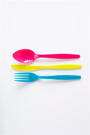 still life of colored plastic cutlery Stock Photo - Rights-Managed, Code: 700-06714095