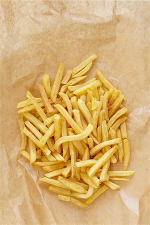snack - still life of french fries on brown paper Stock Photo - Rights-Managed, Code: 700-06714115