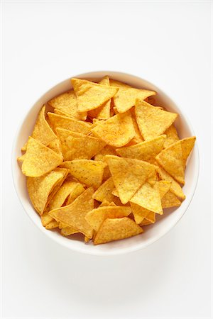 Tortilla Chips in White Bowl on White Background Stock Photo - Rights-Managed, Code: 700-06714134