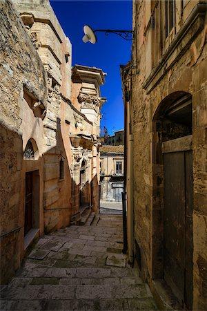 View of narrow street, Ragusa Ibla, Sicily, Italy Stock Photo - Rights-Managed, Code: 700-06714167