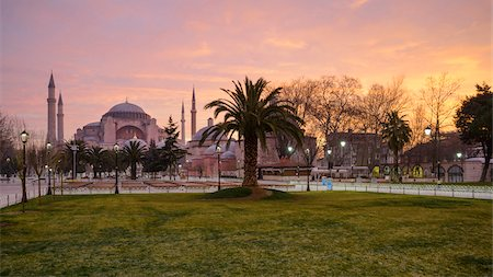 palm - Turkey, Marmara, Istanbul, Hagia Sophia (Ayasofya) at Sunrise, as seen from Sultan Ahmet Square Stock Photo - Rights-Managed, Code: 700-06732701