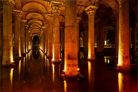 Turkey, Marmara, Istanbul, Sultanahmet area, the Basilica Cistern (Yerebatan Sarayi) is the largest of several hundred ancient cisterns that still lie beneath the city of Istanbul Stock Photo - Rights-Managed, Code: 700-06732749