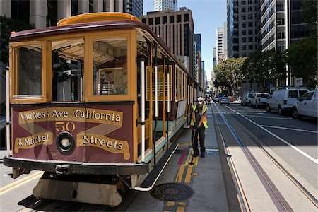 Worker Adjusting Tracks for California St. Cable Car, San Francisco, California, USA Stock Photo - Rights-Managed, Code: 700-06758302