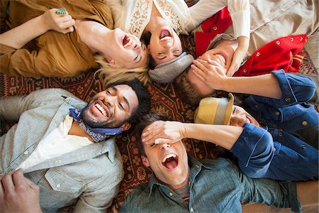 friend (female) - group of young adults laying down looking up laughing Stock Photo - Rights-Managed, Code: 700-06752637
