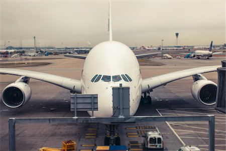 A double decker A380 pushes back to taxi, Heathrow Airport, London, UK Stock Photo - Rights-Managed, Code: 700-06773196