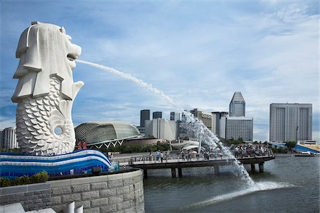 Merlion Park on Marina Bay in Singapore Stock Photo - Rights-Managed, Code: 700-06773207