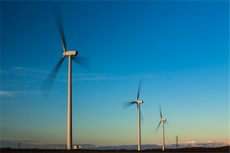 England, Northumberland, Lynemouth. Wind turbines / wind farm located near Ashington, owned and installation started by ScottishPower Renewables  in 2011 - Completed in 2012. Stock Photo - Rights-Managed, Code: 700-06773266