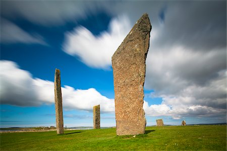 Scotland, Orkney Islands, Standing Stones of Stenness, a Neolithic stone circle monument on the mainland of Orkney, Scotland. It forms part of the Heart of Neolithic Orkney World Heritage Site. Stock Photo - Rights-Managed, Code: 700-06773278