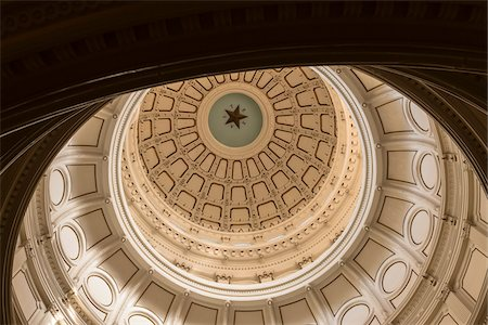 detail - View of the ceiling inside the Rotunda of the Texas state capitol building, Austin, Texas, USA Stock Photo - Rights-Managed, Code: 700-06773302