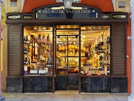 supermarket not people - specialty meat storefront window, Modena, Italy Stock Photo - Rights-Managed, Code: 700-06773317