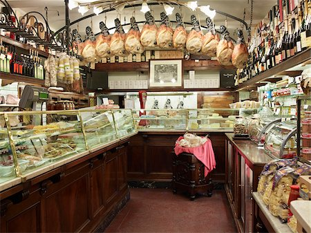 supermarket not people - interior of specialty meat and antipasto shop, Modena, Italy Stock Photo - Rights-Managed, Code: 700-06773318