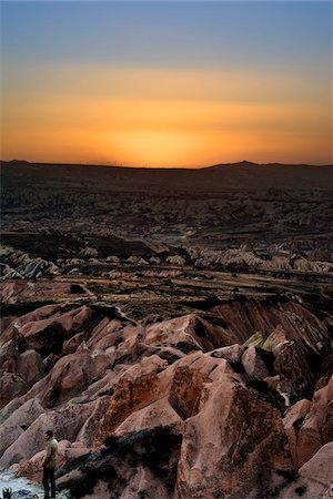 rugged landscape - Turkey, Central Anatolia, Cappadocia, Sunset over Rock Formations Stock Photo - Rights-Managed, Code: 700-06773859
