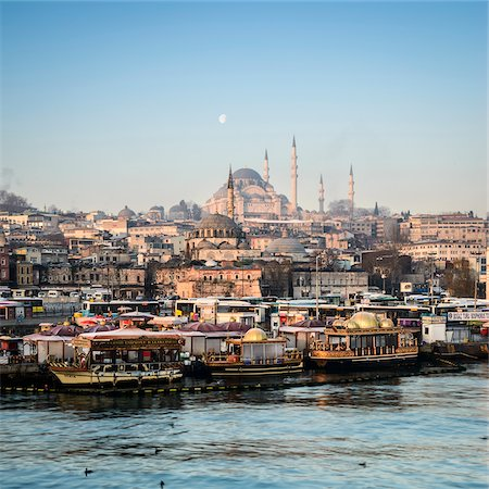 Turkey, Marmara, Istanbul, Suleymaniye Mosque, the largest mosque in the city, view by the Golden Horn Stock Photo - Rights-Managed, Code: 700-06773864