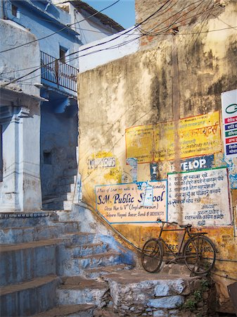Bicycle on Staircase in Old Town Center, city of Bundi, India Stock Photo - Rights-Managed, Code: 700-06782150