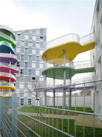 Contemporary Block Apartments with Colorful Patios, Paris, France Stock Photo - Rights-Managed, Code: 700-06808749