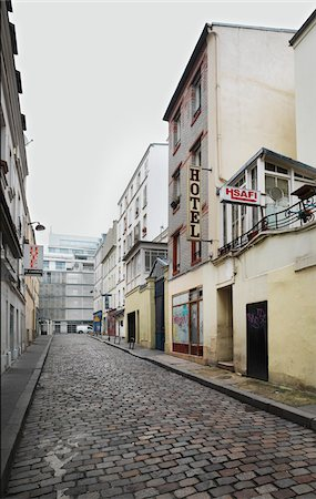 Hotels Lining Street in popular district of Montmartre in Paris, France Stock Photo - Rights-Managed, Code: 700-06808751