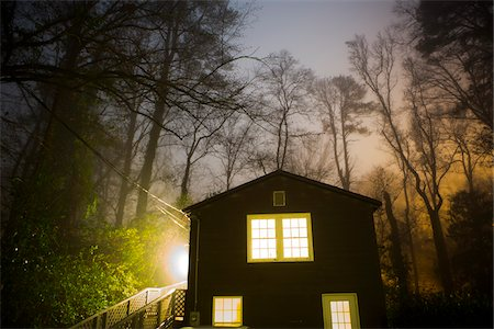 Glowing Foggy Trees over House with Lights On at Night, Macon, Georgia, USA Stock Photo - Rights-Managed, Code: 700-06808902